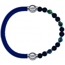 Apollon - Collection MiX - bracelet combinable cuir italien bleu - 10,25cm + agate teintée verte - pierre de lave 6mm - 10,75cm