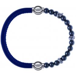 Apollon - Collection MiX - bracelet combinable cuir italien bleu - 10,25cm + hématite 6mm - 10cm