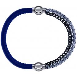 Apollon - Collection MiX - bracelet combinable cuir italien bleu - 10,25cm + chaines 2 tons noir et blancs - 10,25cm