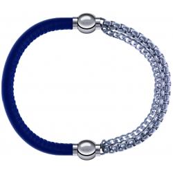 Apollon - Collection MiX - bracelet combinable cuir italien bleu - 10,25cm + chaines - 10,25cm