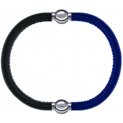 Apollon - Collection MiX - bracelet combinable cuir italien vert militaire - 10,25cm + cuir italien bleu - 10,25cm