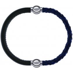 Apollon - Collection MiX - bracelet combinable cuir italien vert militaire - 10,25cm + cuir tressé italien bleu - 10,5cm