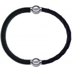 Apollon - Collection MiX - bracelet combinable cuir italien vert militaire - 10,25cm + cuir tressé italien marron - 10,5cm