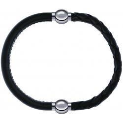 Apollon - Collection MiX - bracelet combinable cuir italien vert militaire - 10,25cm + cuir tressé italien vert - 10,5cm