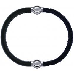 Apollon - Collection MiX - bracelet combinable cuir italien vert militaire - 10,25cm + cuir tressé italien noir - 10,5cm