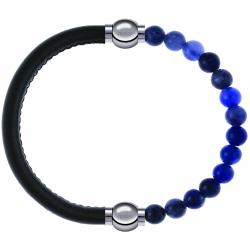 Apollon - Collection MiX - bracelet combinable cuir italien vert militaire - 10,25cm + sodalite 6mm - 10,25cm