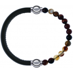Apollon - Collection MiX - bracelet combinable cuir italien vert militaire - 10,25cm + agate marron 6mm - 10,25cm