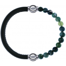 Apollon - Collection MiX - bracelet combinable cuir italien vert militaire - 10,25cm + agate verte mousse 6mm - 10,25cm