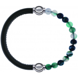 Apollon - Collection MiX - bracelet combinable cuir italien vert militaire - 10,25cm + agate indienne teintée 6mm - 10,25cm