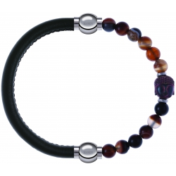 Apollon - Collection MiX - bracelet combinable cuir italien vert militaire - 10,25cm + agate marron 6mm - Bouddha - 10cm