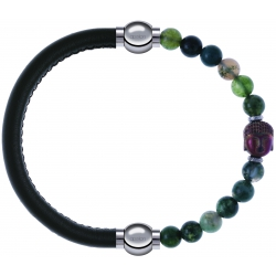 Apollon - Collection MiX - bracelet combinable cuir italien vert militaire - 10,25cm + agate verte 6mm - Bouddha - 10cm