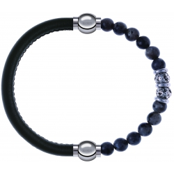 Apollon - Collection MiX - bracelet combinable cuir italien vert militaire - 10,25cm + sodalite 6mm - 10cm