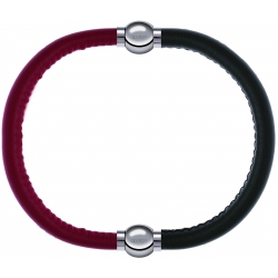 Apollon - Collection MiX - bracelet combinable cuir italien rouge - 10,25cm + cuir italien vert militaire - 10,25cm