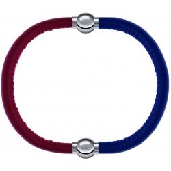 Apollon - Collection MiX - bracelet combinable cuir italien rouge - 10,25cm + cuir italien bleu - 10,25cm