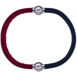 Apollon - Collection MiX - bracelet combinable cuir italien rouge - 10,25cm + cuir italien gris - 10,25cm