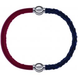 Apollon - Collection MiX - bracelet combinable cuir italien rouge - 10,25cm + cuir tressé italien bleu - 10,5cm