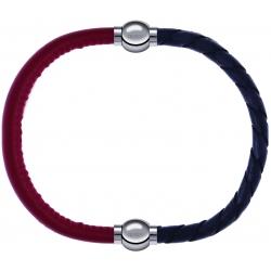 Apollon - Collection MiX - bracelet combinable cuir italien rouge - 10,25cm + cuir tressé italien gris - 10,5cm