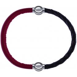 Apollon - Collection MiX - bracelet combinable cuir italien rouge - 10,25cm + cuir tressé italien marron - 10,5cm