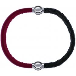Apollon - Collection MiX - bracelet combinable cuir italien rouge - 10,25cm + cuir tressé italien vert - 10,5cm