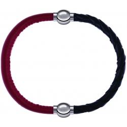 Apollon - Collection MiX - bracelet combinable cuir italien rouge - 10,25cm + cuir tressé italien noir - 10,5cm