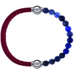 Apollon - Collection MiX - bracelet combinable cuir italien rouge - 10,25cm + sodalite 6mm - 10,25cm
