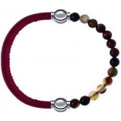 Apollon - Collection MiX - bracelet combinable cuir italien rouge - 10,25cm + agate marron 6mm - 10,25cm
