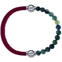 Apollon - Collection MiX - bracelet combinable cuir italien rouge - 10,25cm + agate verte mousse 6mm - 10,25cm