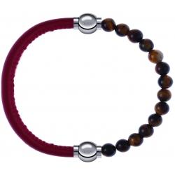 Apollon - Collection MiX - bracelet combinable cuir italien rouge - 10,25cm + oeil de tigre 6mm - 10,25cm