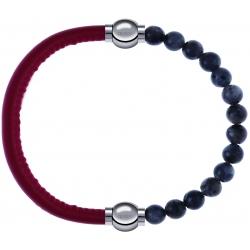 Apollon - Collection MiX - bracelet combinable cuir italien rouge - 10,25cm + labradorite 6mm - 10,25cm