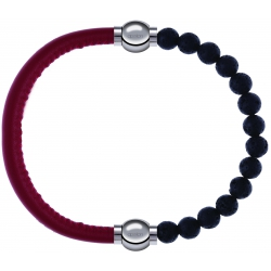 Apollon - Collection MiX - bracelet combinable cuir italien rouge - 10,25cm + pierre de lave 6mm - 10,25cm