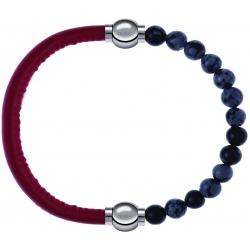 Apollon - Collection MiX - bracelet combinable cuir italien rouge - 10,25cm + obsidienne neige 6mm - 10,25cm