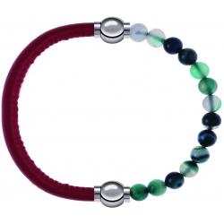 Apollon - Collection MiX - bracelet combinable cuir italien rouge - 10,25cm + agate indienne teintée 6mm - 10,25cm
