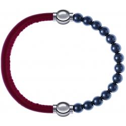 Apollon - Collection MiX - bracelet combinable cuir italien rouge - 10,25cm + hématite 6mm - 10,25cm