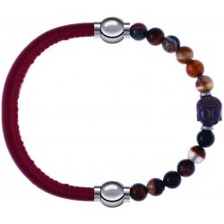Apollon - Collection MiX - bracelet combinable cuir italien rouge - 10,25cm + agate marron 6mm - Bouddha - 10cm