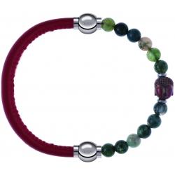 Apollon - Collection MiX - bracelet combinable cuir italien rouge - 10,25cm + agate verte 6mm - Bouddha - 10cm