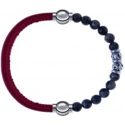 Apollon - Collection MiX - bracelet combinable cuir italien rouge - 10,25cm + sodalite 6mm - 10cm