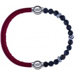 Apollon - Collection MiX - bracelet combinable cuir italien rouge - 10,25cm + labradorite 6mm - 10cm