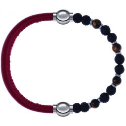 Apollon - Collection MiX - bracelet combinable cuir italien rouge - 10,25cm + oeil de tigre - pierre de lave 6mm - 10,75cm