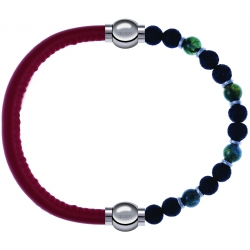 Apollon - Collection MiX - bracelet combinable cuir italien rouge - 10,25cm + agate teintée verte - pierre de lave 6mm - 10,75cm