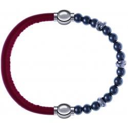 Apollon - Collection MiX - bracelet combinable cuir italien rouge - 10,25cm + hématite 6mm - 10cm