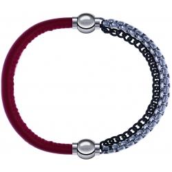Apollon - Collection MiX - bracelet combinable cuir italien rouge - 10,25cm + chaines 2 tons noir et blancs - 10,25cm