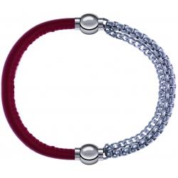 Apollon - Collection MiX - bracelet combinable cuir italien rouge - 10,25cm + chaines - 10,25cm