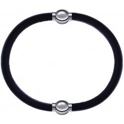 Apollon - Collection MiX - bracelet combinable cuir italien marron foncé - 10,25cm + cuir italien marron foncé - 10,25cm