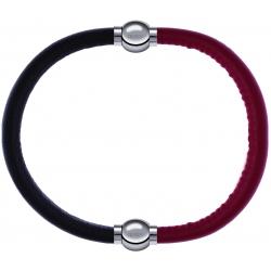 Apollon - Collection MiX - bracelet combinable cuir italien marron foncé - 10,25cm + cuir italien rouge - 10,25cm