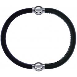 Apollon - Collection MiX - bracelet combinable cuir italien marron foncé - 10,25cm + cuir italien vert militaire - 10,25cm