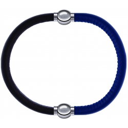 Apollon - Collection MiX - bracelet combinable cuir italien marron foncé - 10,25cm + cuir italien bleu - 10,25cm