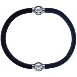 Apollon - Collection MiX - bracelet combinable cuir italien marron foncé - 10,25cm + cuir italien gris - 10,25cm
