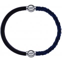 Apollon - Collection MiX - bracelet combinable cuir italien marron foncé - 10,25cm + cuir tressé italien bleu - 10,5cm