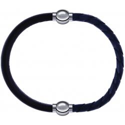 Apollon - Collection MiX - bracelet combinable cuir italien marron foncé - 10,25cm + cuir tressé italien gris - 10,5cm
