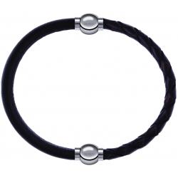 Apollon - Collection MiX - bracelet combinable cuir italien marron foncé - 10,25cm + cuir tressé italien marron - 10,5cm